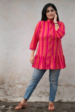 Buy Pink And Orange Striped Shirt in Delhi