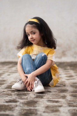 Buy Yellow And White Top With Hair Band For Kids  in Delhi