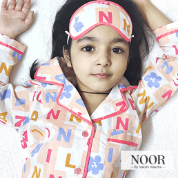 Buy Alphabet Print With Eye Mask Night Suit Set For Kids ,unisex in Delhi