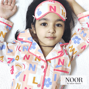 Alphabet Print with Eye Mask Night Suit Set for Kids ,Unisex